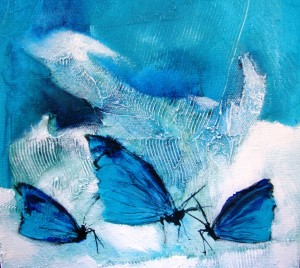 Blue Butterfies #1 - giclee reproduction of original art work Ltd edition of 19 W218 x H194 - $70